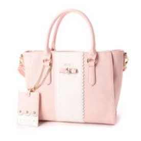 リズリサ LIZ LISA アネラ リボンブローチ付バイカラー2WAYミニトートバッグ (ピンク)