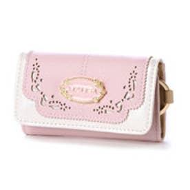 リズリサ LIZ LISA ミュール リボン型抜バイカラーキーケース (ピンク)