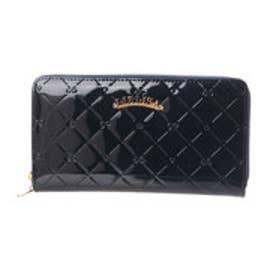 リズリサ LIZ LISA エピナ リボン&ハート型押しエナメルラウンド長財布 (ネイビー)