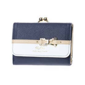 リズリサ LIZ LISA ティー お花リボンブローチ付バイカラーがま口折財布 (ネイビー)