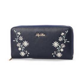 リズリサ LIZ LISA ジャスミン 花刺繍ラウンド長財布 (ネイビー)