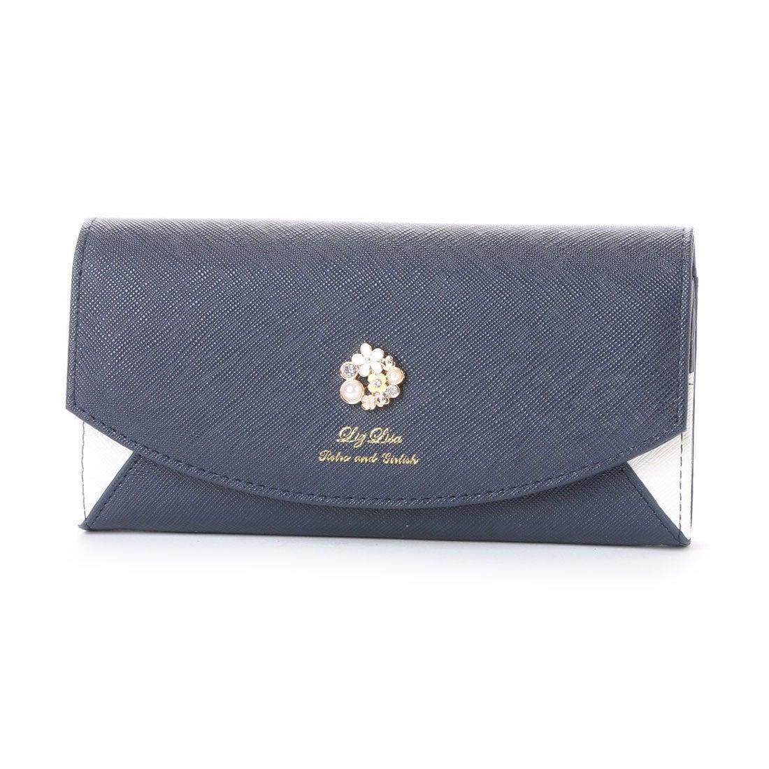 5cc121a219e4 リズリサ LIZ LISA ポピー お花ブローチ付配色長財布 (ネイビー) -アウトレット通販 ロコレット (LOCOLET)
