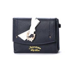 プリムヴェールリズリサ Primevere LIZ LISA ジュエル リボン付三つ折れ財布 (ネイビー)