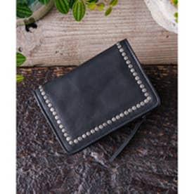 ビュレ Beau're Beaure ビュレ 本革 カウレザー スタッズ 二つ折り財布 コンパクト (ブラック)