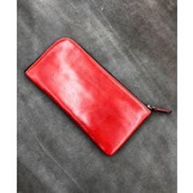 ビカーシ BICASH ラウンドジップレザーウォレット (RED)