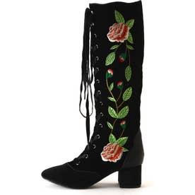 フラワー刺繍ロングブーツ BLACK VELVET1