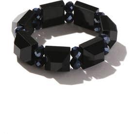 カラービーズブレスレット BLACK+HEMATITE1
