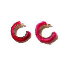 カラーフリンジフープピアス ピンク1