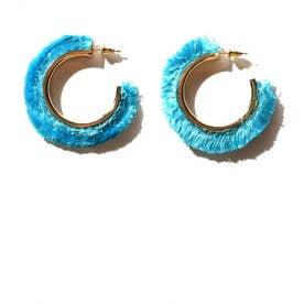 カラーフリンジフープピアス ブルー1
