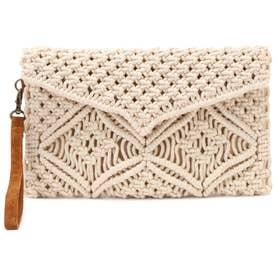 マクラメ編みクラッチバッグ アイボリー1