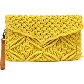 マクラメ編みクラッチバッグ イエロー1