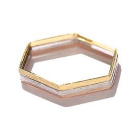 3本セット六角形リング ゴールド1