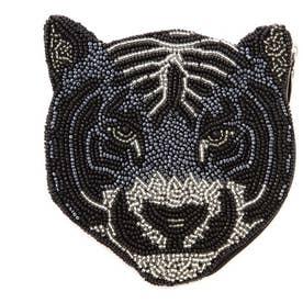 タイガーモチーフピーズポーチ ブラック1