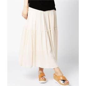 シャーリングデザインロングスカート WHITE DK2