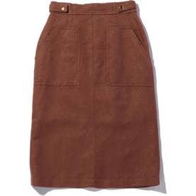 麻混ベイカー風スカート BROWN MID1