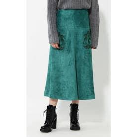 フェイクスエードスカート グリーン1