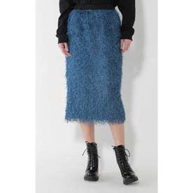 ミディ丈スカート ブルー1