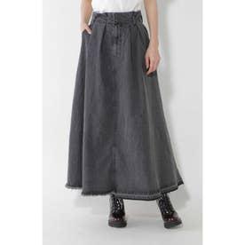 フレアデニムロングスカート ブラック1
