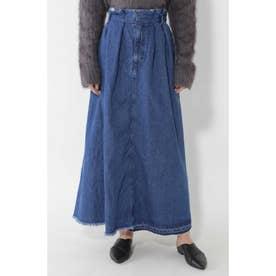 フレアデニムロングスカート ブルー1