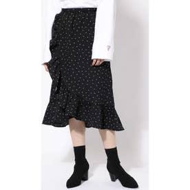 ラッフルフリルラップスカート ブラック1