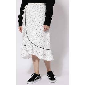 ラッフルフリルラップスカート ホワイト1