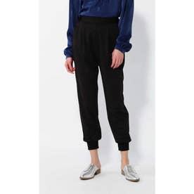 裾リブパンツ ブラック1