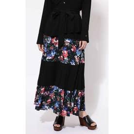 花柄切り替えマキシスカート ブラック1
