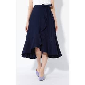 ラッフルフレアラップスカート ネイビー1