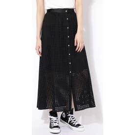ボタンメッシュロングスカート ブラック1