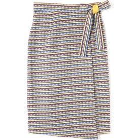 エスニックジャガードラップスカート BLUE MID1