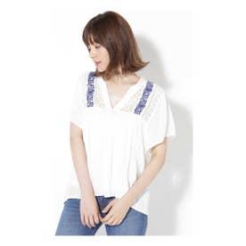 レース×刺繍ブラウス ホワイト1