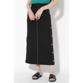 サイドボタンステッチスカート ブラック1