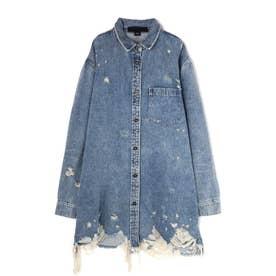 クラッシュデニムシャツジャケット ブルー1
