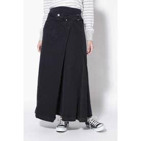 ラップ風デニムスカート ブラック1