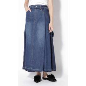 ラップ風デニムスカート ブルー1