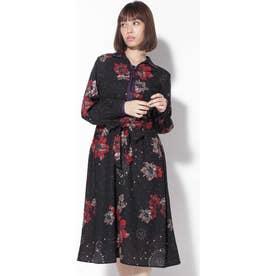 フラワープリントシャツドレス ブラック1