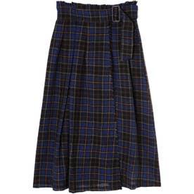 チェックラップスカート ネイビー1