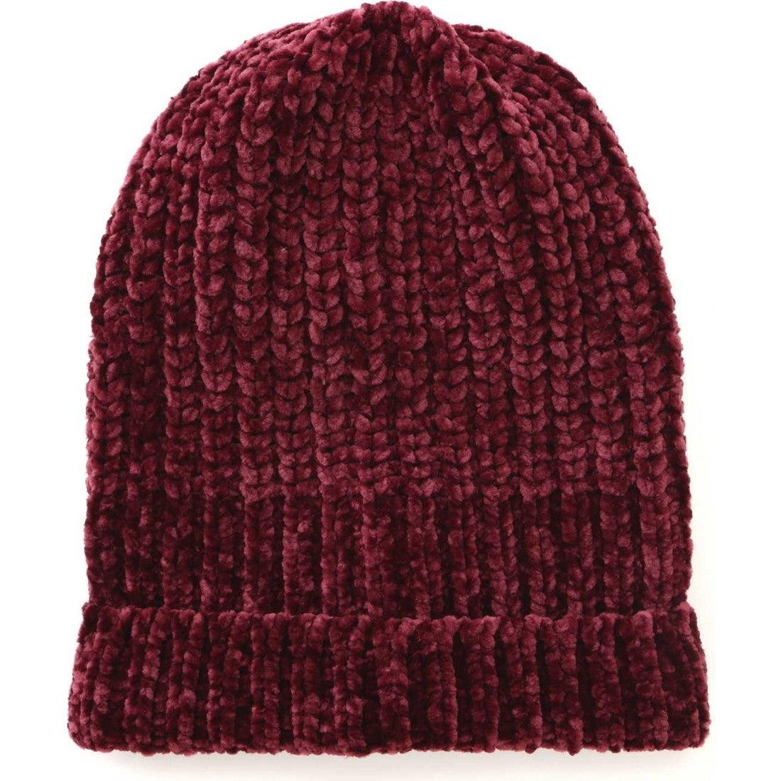 ローゲージニット帽 ワイン1
