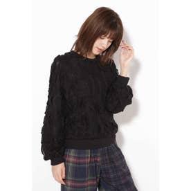 柄編みカットソー ブラック1