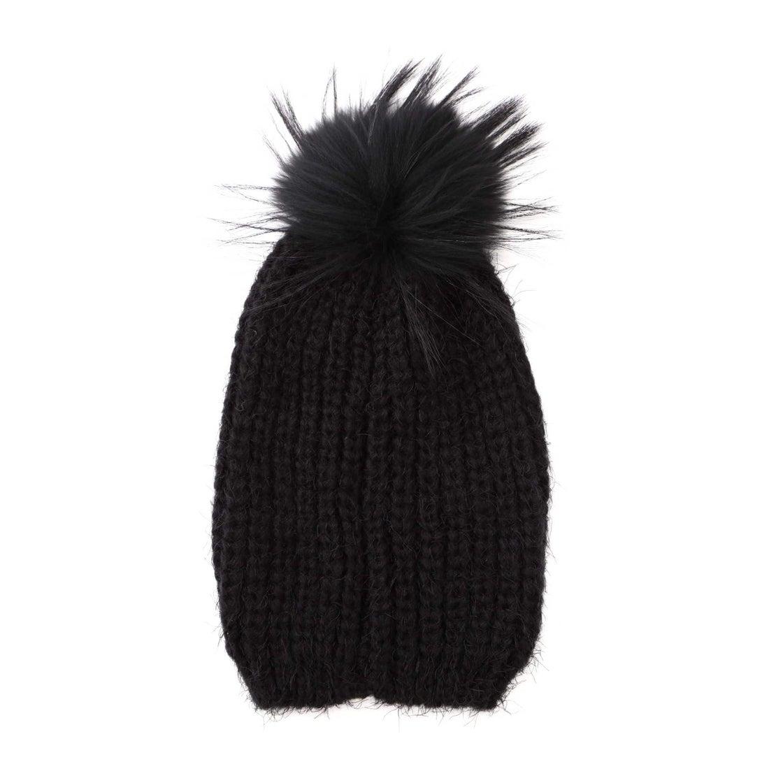 ポンポン付ニット帽 ブラック1