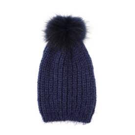 ポンポン付ニット帽 ネイビー1