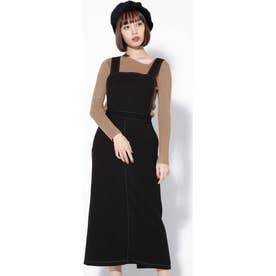 配色ステッチジャンパースカート ブラック1