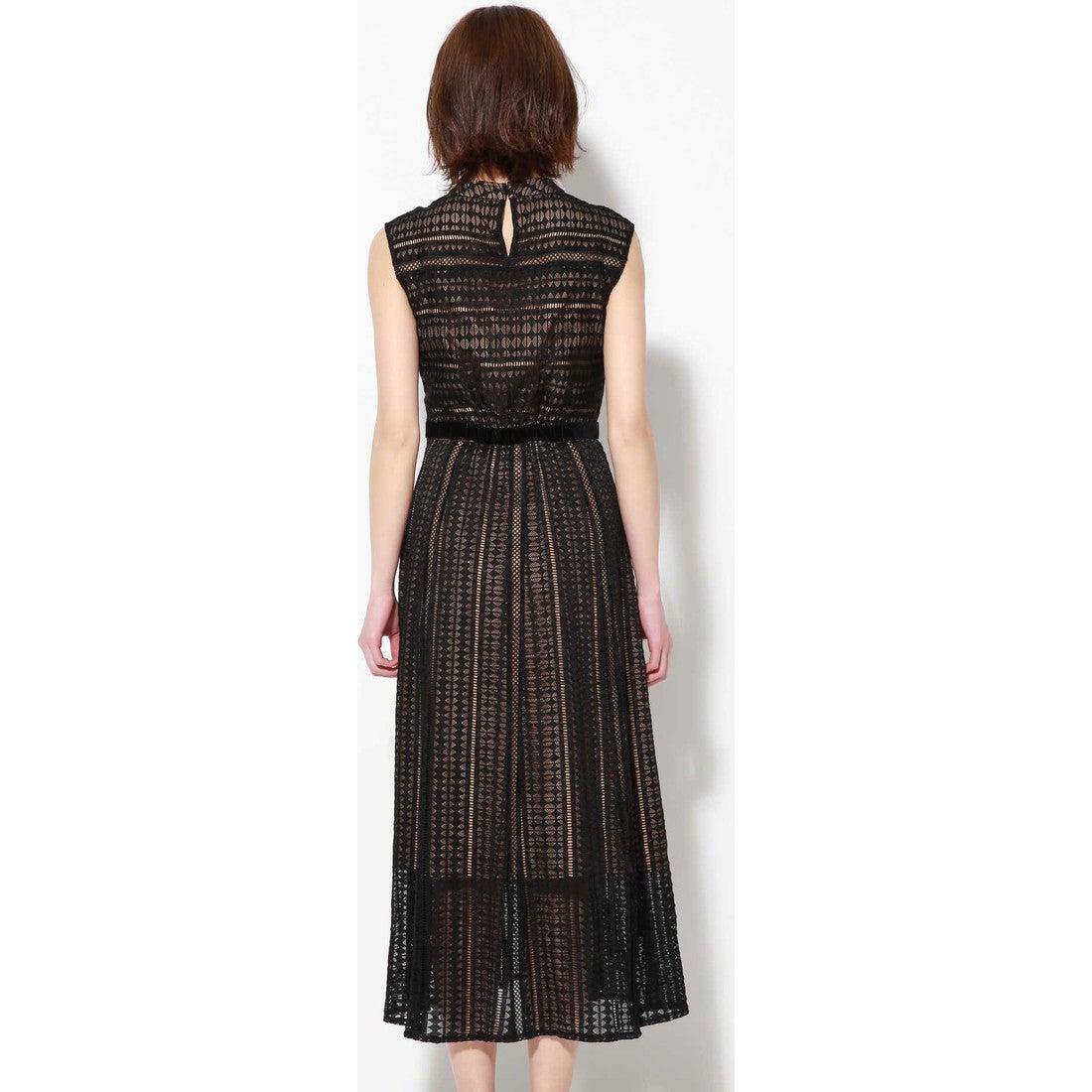 c9f4ff759cdde ROSE BUD 幾何レースノースリーブドレス ブラック -靴&ファッション通販 ...