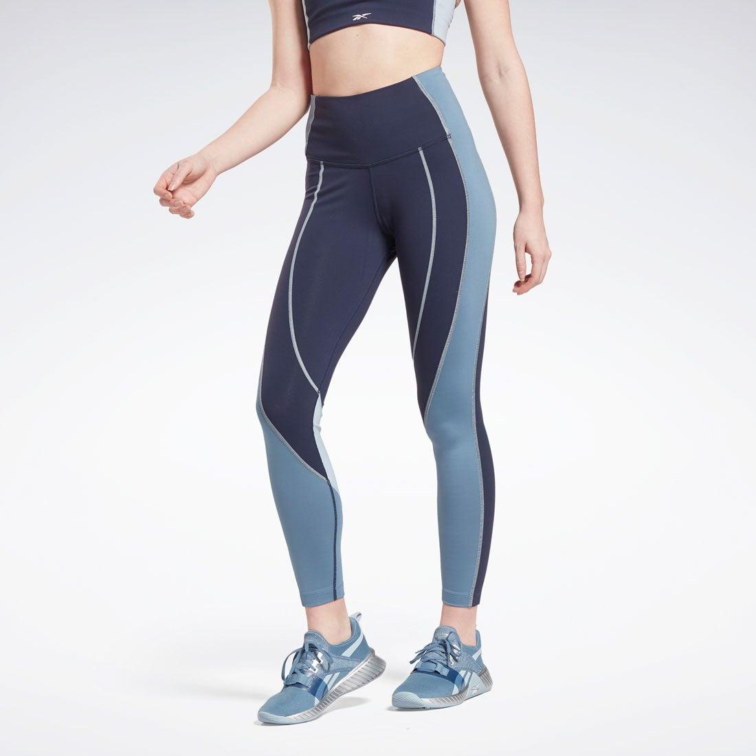 リーボック Reebok Lux ハイライズ カラーブロック レギンス / Lux High-Rise Colorblock Leggings (ブルー)