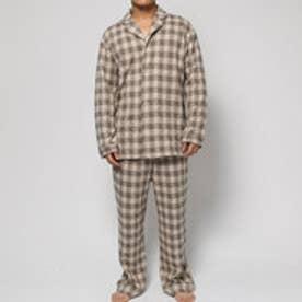 コンフォートインデックス COMFORT INDEX ギンガムチェックオープンカラーパジャマ (ベージュ)