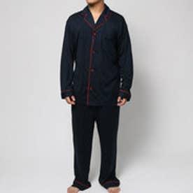 コンフォートインデックス COMFORT INDEX モダールパイピングオープンカラーパジャマ (ネイビー)