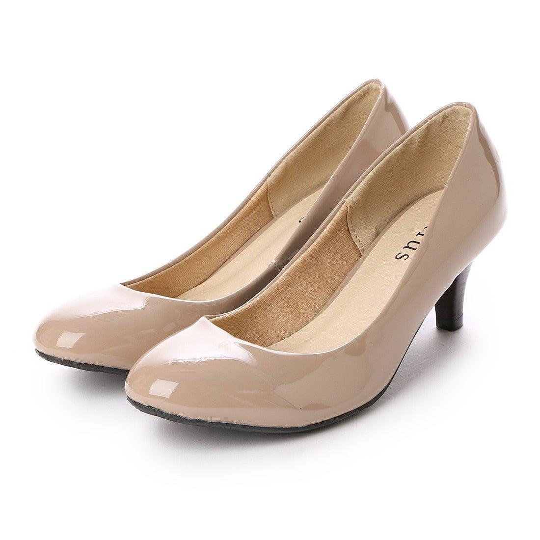 サルース salus ラウンドトゥ楽チンミドルヒールパンプス (ベージュエナメル) ,靴&ファッション通販 ロコンド〜自宅で試着、気軽に返品