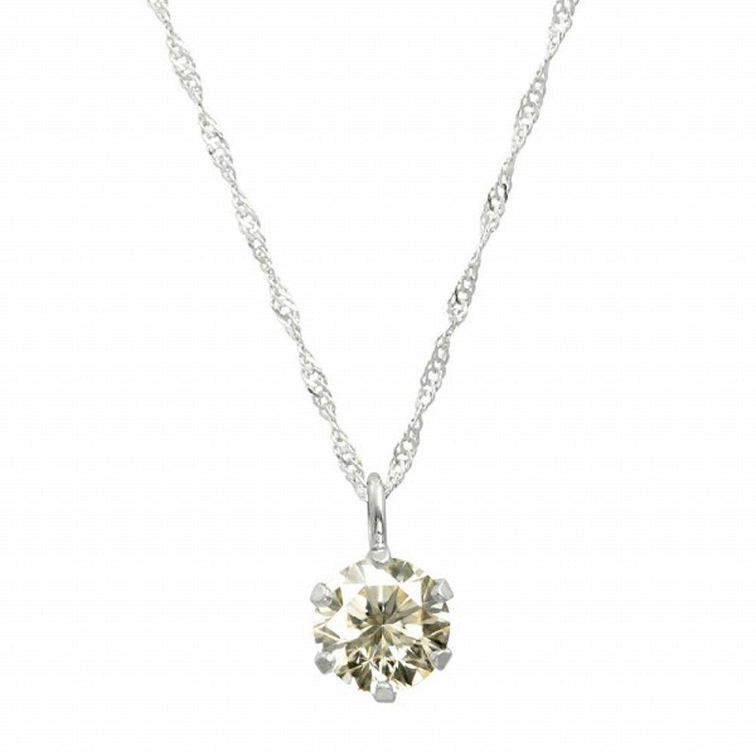 ジュエリーコレクション【ネット限定】K18ゴールド 天然ダイヤモンド 0.3ct SIクラス ネックレス 鑑定書付 【K18WG スクリュー42cm】【返品不可商品】