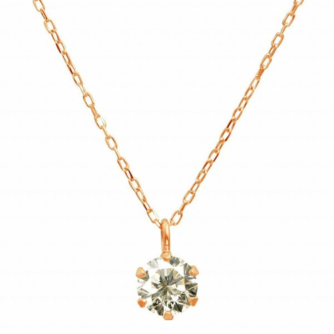 ジュエリーコレクション【ネット限定】K18ゴールド 天然ダイヤモンド 0.3ct SIクラス ネックレス 鑑定書付 【K18PG あずき40cm】【返品不可商品】