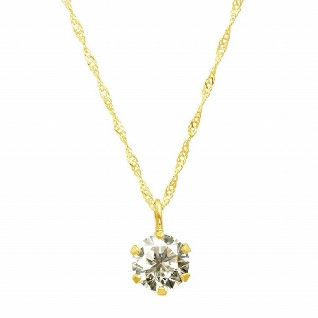 ジュエリーコレクション【ネット限定】K18ゴールド 天然ダイヤモンド 0.3ct SIクラス ネックレス 鑑定書付 【K18YG スクリュー42cm】 【返品不可商品】